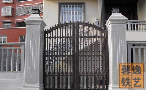 馨逸装饰厂家直销小区铁艺大门 别墅大门 双开围墙大门设计安装