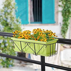 阳台简约创意花架悬挂式栏杆长方形花架铁艺花盆阳台种菜盆多肉架