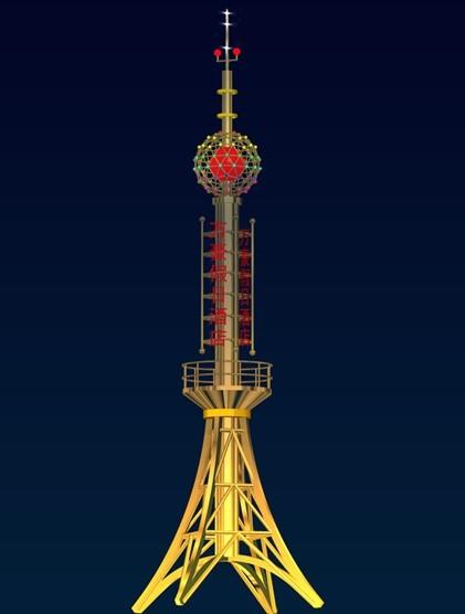 信丰公司设计报价楼顶不锈钢通讯工艺装饰塔制作安装