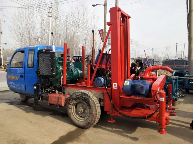 三轮车改装4寸正循环打井机  河南打井机厂家