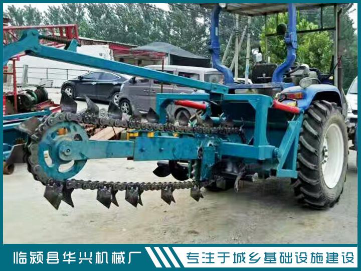 河南华兴拖拉机带田间链式开沟机  自来水管道开沟机