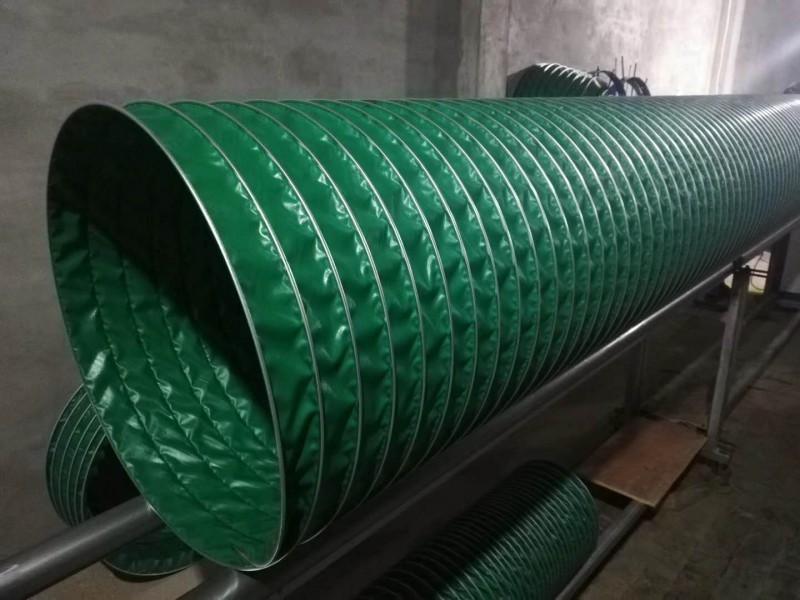 山东丰运管业供应耐温200度绿色三防布伸缩风管帆布通风管