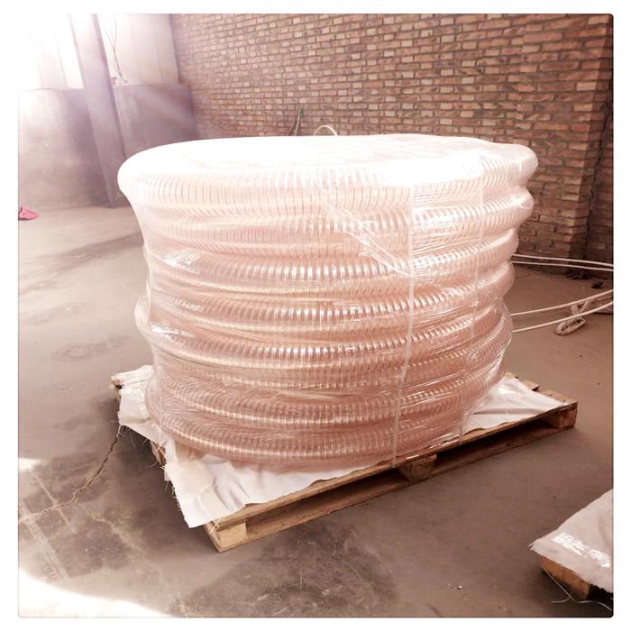 山东丰运管业供应农业机械专用PU风管吸粮机专用PU耐磨钢丝伸缩管