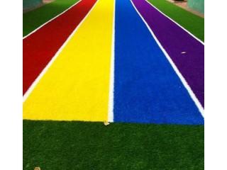 幼儿园人造草坪 彩虹跑道 图案草坪 幼儿园户外装饰地坪 仿真草坪