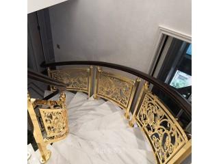 紫铜楼梯扶手镀K金色是你想不到的华丽